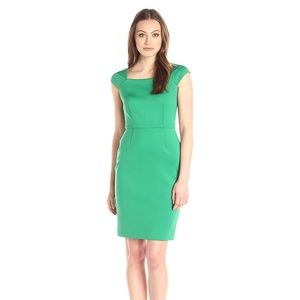CALVIN Klein Neoprene Fitted Green Dress